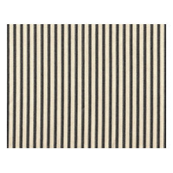 """Close to Custom Linens - 90"""" Tablecloth Round Ticking Stripe with Toile Topper Black - A charming traditional ticking stripe in black on a cream background. 90"""" round cotton tablecloth."""