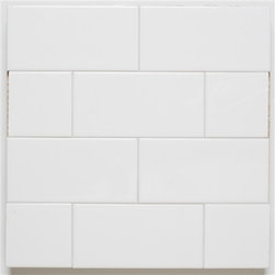 H Line- 3x6 Glossy Subway Tile- Cotton - 10 Square Feet - H Line- 3x6 Glossy Subway Tile- Cotton