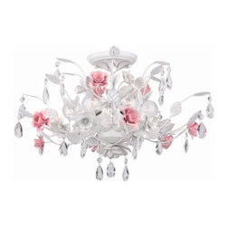 Crystorama Lighting Group - Crystorama Lighting Group 4850-AW 6 Light Semi Flush Ceiling Fixture from the Lo - Crystorama 4850-AW Six Light Semi Flush Ceiling Fixture from the Lola Collection In Crystorama's Lola Collection, we pair the graceful curves of hand-painted wrought iron with the soft crystal accents. From sunrooms, to powder rooms, to children's rooms, the Antique White finish mixed with the Pink rose accents allows this series to match any soft traditional decor.