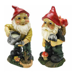 EttansPalace - Gulliver and Mushroonie Garden Gnome Statues - Set of 2 - When you could use a little gnome magic at your entryway, vegetable plot or garden flowerbed, our two garden gnome statues are at the ready! Sporting pointy red elf hats and garden tools, our garden elves pave the way with the same warm welcome they'll extend to all visitors to your home or garden. Imaginatively sculpted, our quality designer resin garden gnome statues are hand-painted one piece at a time. More quality gnome sculptures from Toscano! Each Approx.