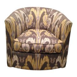 Custom Grey Ikat Swivel Chair - $2,295 Est. Retail - $1,950 on Chairish.com -
