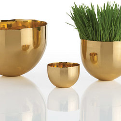 """Arteriors - Arteriors Stockholm Polished Brass Bowls Set of 3 - Irregular edges and thin walls contribute to the modern retro styling of Stockholm's trio of polished brass bowls. A versatile accent piece, these simple vessels by Arteriors make an chic addition as a vase, dish or sculpture. Set of 3; Brass; Small: 3.5"""" Dia. x 2.5""""H; Medium: 5.5"""" Dia. x 4.5""""H; Large: 8"""" Dia. x 6""""H"""