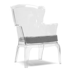 Baxton Studio - Tasha Clear Polycarbonate Accent Chair - An innovative fusion of old-world European style with modern-day creativity, the Tasha Chair is a stunner. Made of durable clear, transparent polycarbonate, Tasha features a firm foam cushion with white/gray woven fabric, is made in China, and comes fully assembled. We recommend the shell is wiped clean with a damp cloth while the cushion is spot cleaned.