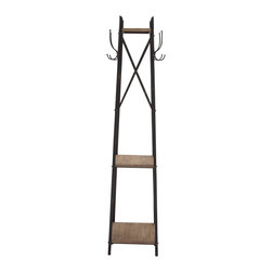Benzara - Traditional Durable Constructed Metal Wood Coat Rack Home Decor - Description: