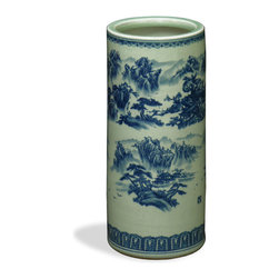 China Furniture and Arts - Blue & Yellow Porcelain Umbrella Stand - With a modern twist on traditional blue and white porcelain, this yellow and blue umbrella stand is sure to be a conversation starter. The hand-painted landscape scenery design is sure to be an eye-catching work of art in any foyer.