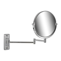 Geesa - Wall Mounted Chrome Round 5x Magnifying Mirror with Double Arm - Contemporary style wall mounted double arm magnifying mirror with 5x magnification. Made of glass and brass with a chrome finish. Wall mounted double arm magnification mirror. 5x magnification. Made of glass and brass in a chrome finish. From the Geesa Mirror Collection.