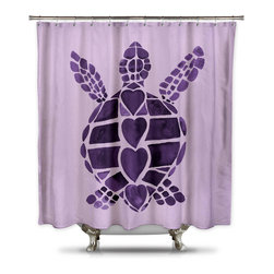 Shower Curtain HQ - Turtle Love Purple Shower Curtain by Catherine Holcombe, Extra Long - This purple shower curtain with large artwork of a turtle is perfect for a girl's bathroom and will add style to your home!