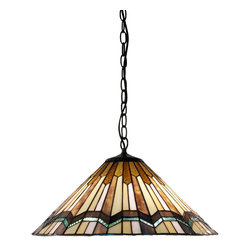 Warehouse of Tiffany - Tiffany Style Arrow Head Hanging Lamp - This Tiffany-style hanging lamp features hand-cut stained glass in a calming and earthy color palette. This stylish 2-light lamp is finished in a rich bronzetone.