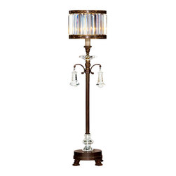 Fine Art Lamps - Eaton Place Rustic Iron Console Lamp, 606215ST - With its slim, graceful base, this lamp is perfect for a console or buffet in your home. The shade of faceted channel-set crystal and brilliant pendants lend stately substance.