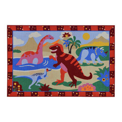 None - Children's Dinosaurs Design Multicolor Area Rug (5' x 6'6) - The Children's Dinosaurs Design non-skid, rubber-backed area rug features children's education and novelty designs that are sure to uplift any space. This inviting area rug offers a durable construction for years of use, and a bright color palette.