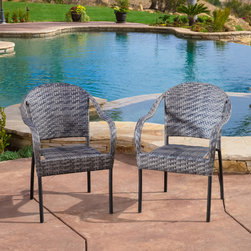 Christopher Knight Home - Christopher Knight Home Sunset Grey Outdoor Wicker Chair (Set of 2) - Enjoy some sun with these sturdy outdoor wicker chairs. These chairs will bring leisure and elegance to your patio or pool area and their neutral color can be easily matched with almost any d�cor.