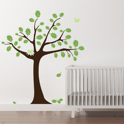 Cherry Walls - Summer Oak Wall Decal - Make a stylish nest for your little one with this adorable decal. One sweet songbird nestles in between vibrant leaves while the other flies off to into the sunny sky. On the nursery or bedroom wall, this cheerful summer oak will brighten the mood and delight children of all ages.