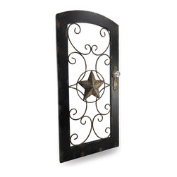 Zeckos - Distressed Finish Black Wood Frame Door with Scroll Star Wall Panel - Dress up a boring wall in your kitchen, dining room, porch or garden wall with this distressed finish door inspired scroll design wall panel Crafted from wood and metal, it has a beautiful black distressed finish frame and antique gold metal scroll accents with a star taking center stage and is complete with a clear faceted knob as a handle. This 32.5 inch (83 cm) high, 15.75 inch (40 cm) wide, 3/8 inch (1 cm) deep (1.75 inch including the knob) decorative wall panel easily hangs on the wall using just two nails or screws via the attached hangers on the back, and makes a wonderful housewarming gift.
