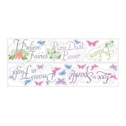 "RoomMates Peel & Stick - Disney Fairies Phrases Wall Decals - Bring the magic of the Disney Fairies to your little girl's room with these beautiful phrases wall decals. Featuring sayings like ""I believe in fairies"" and ""love to sparkle,"" these decals feature gorgeous glitter elements that will make them literally shine on the walls! And since RoomMates are completely reusable, these fun stickers can be moved and repositioned as many times as you please."