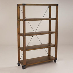Warner Bookshelf - Open on all sides and set on wheels for easy movement, this is perfect for a small room.