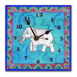 Elephant Wall Clock - The Elephant Clock started with an original painting in acrylics. We then make a print of the painting, and dry mount it onto black foam board, which is heat-sealed with a protective laminate. It looks just like tile but is so light it can be hung on a pushpin, so there's no need to put a nail in your wall. It has a hanger on the back and comes in a gift box. The quartz movement runs on a single AA battery. Made in the USA. (Be sure to look for our elephant alarm clock and jungle magnets, too!)