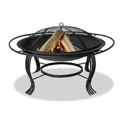 Blue Rhino - Uniflame 34.6in Firebowl Black - Uniflame WAD1050SP Black Outdoor Firebowl with Outer Ring... This Blue Rhino outdoor wood burning firepit is a functional and affordable addition to any deck patio or pool side. It features wrought iron construction for a stong and bold statement with a traditional and elegant feel. The  unit includes the easy lift spark arrestor to provide warmth and comfort safely at an unbeatable price point.