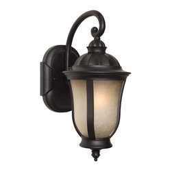 Craftmade - Small Energy Star Fixture in Oiled Bronze - Bulb Type: GU24. Max Watt: 1x18W. Meets Energy Star Energy Efficiency Standards. Glass Finish: Tea-Stained Scavo. Height: 13.75 in.. Width: 6.25 in.. Type of Fixture: Small Wall Mount. Extension: 9.0 in.. Backplate (Width x Height): 5.0 in. x 7.0 in.. Top to Outlet: 5.5 in.. Includes Photocell