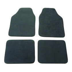 INSTEN - Grey Automotive 4-piece Carpet Floor Mat Set - This set of four floor mats will fit most vehicles and features a non slip rubber spiked bottom. These floor mats are the perfect addition to personalize your vehicle's interior and give your vehicle comfortable padded protection.