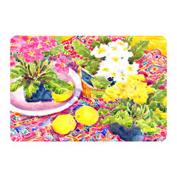 Caroline's Treasures - Flower - Primroses Kitchen Or Bath Mat 24X36 - Kitchen or Bath COMFORT FLOOR MAT This mat is 24 inch by 36 inch.  Comfort Mat / Carpet / Rug that is Made and Printed in the USA. A foam cushion is attached to the bottom of the mat for comfort when standing. The mat has been permenantly dyed for moderate traffic. Durable and fade resistant. The back of the mat is rubber backed to keep the mat from slipping on a smooth floor. Use pressure and water from garden hose or power washer to clean the mat.  Vacuuming only with the hard wood floor setting, as to not pull up the knap of the felt.   Avoid soap or cleaner that produces suds when cleaning.  It will be difficult to get the suds out of the mat.