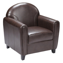 Flash Furniture - Envoy Series Leather Chair - Make an impression with your clients and customers with this attractive leather reception chair. Reception chairs are perfect for the office and waiting room seating. Not only will this chair fit in a professional environment, but will add a chic look to your living room space. The contemporary design of this chair will fit in a multitude of environments with its comfortable cushions, elegant rounded arms and black wood feet.