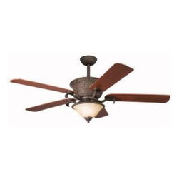"Kichler Lighting - Kichler Lighting - 300010 - High Country - 56"" Ceiling Fan - With an Olde Iron finish and Umber Alabaster glass, this fan is a wonderful addition to the Kichler High Country(TM) Collection. The 5, 56"" blades are pitched 14 degrees and are reversible for your choice of a Dark Cherry or Medium Cherry finish. The 188mm x 22mm Motor will provide the quiet power you need. With full range dimming and Intelligent Return, the integrated downlight uses 3 40-watt B-10 bulbs. This fan comes complete with the Full Function Cool Touch(TM) Control System with independent up and down light control and 6"" and 12"" (3/4"" I. D. ) downrods."