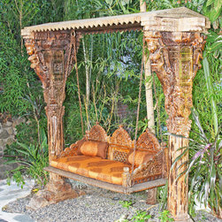 Indian Jhula Swing - Handcarved on Sheesham wood, this swing can be used indoors as well as outdoors. It is sure to be the talk of anyone's home.