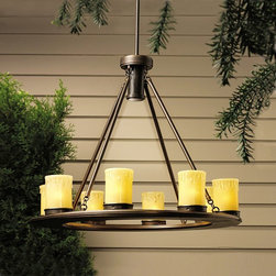 LANDSCAPE - LANDSCAPE 15402OZ Oak Trail Low Voltage Outdoor Traditional Chandelier - The Oak Trail Garden Collection combine rugged good looks with natural influences. Uncluttered design and interesting textural accents bring the welcoming ambiance of a favorite mountain lodge to everyday living. Select from path and deck lighting plus an outdoor chandelier to create a warm, distinctive outdoor living space. Crafted of premium metal set off with an Olde Bronze finish. Oak Trail's beauty will endure for years.Rugged lodge design with candle-style lights to illuminate pergola, gazebo or outdoor dining areas. Suitable for wet locations.