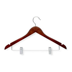 Honey Can Do - Basic Suit Hanger with Clips in Cherry Finish - Streamlined shape. Keeps clothing looking freshly-pressed. Metal clips. Keeps pants in place. Limited lifetime warranty. 17.5 in. L x 0.47 in. W x 10.75 in. H (0.151 lbs.)Honey-Can-Do HNG-01210 3-Pack Wooden Suit Hanger with Clips, Cherry. Beautiful, wooden clothes hanger is slightly contoured to keep shirts, dresses, jackets, and pants wrinkle-free. Perfect for keeping coordinating pieces together, this versatile clothes hanger is a great time saver. Features a 360 degree swivel rod hook to hang items easily on any closet rod, towel bar, or standard size door. Durable clips are adjustable to accommodate a variety of sizes and styles, plus incorporate rubber grips for a non-slip surface that holds fabrics beautifully in place.