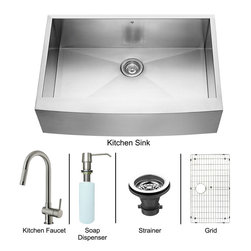 Vigo - All in One 33in.  Farmhouse Stainless Steel Kitchen Sink and Faucet Set - Enhance the look of your kitchen with a VIGO All in One Kitchen Set featuring a 33in.  Farmhouse - Apron Front kitchen sink, faucet, soap dispenser, matching bottom grid and sink strainer.
