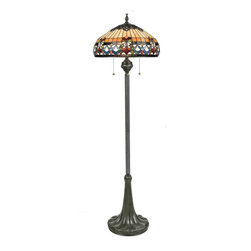 Quoizel Lighting - Quoizel TFBF9362VB Belle Fleur Vintage Bronze Tiffany Floor Lamp - 3, 100W A19 Medium