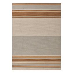 Jaipur Rugs - Flat-Weave Stripe Pattern Wool Blue/Brown Area Rug (9 x 12) - Bold color is the name of the game with Pura Vida. This beautiful collection of durable, reversible flat-woven dhurries combines the classic simplicity of linear patterns with a decidedly modern palette for a look that's at once casual and sophisticated.