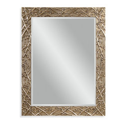 Bassett Mirror - Bassett Mirror Panache Wall Mirror - Twigs and berries add nature-inspired texture to the antique pewter finish of this handsome wall mirror. Adorn your entryway or living room walls with it year-round, or make it a festive piece to go with your holiday decor.