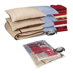 Household Essentials - MightyStor Flat Bag, Large & Combo 2-piece, Clear - Our 2-piece combination set of MightyStor Vacuum Bags Large and Jumbo flat bags provide options for the storage adept and the novice. Our MightyStor Vacuum Bags is the safe way to compactly store and protect your favorite things, creating instant space in your closet, wardrobe, or on the go. Works hard to bring you the best in Laundry and storage.