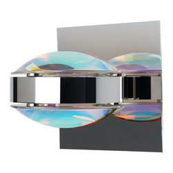 Besa Lighting - Besa Lighting OPTOS1W-CDCD Optos 1 Light Halogen Wall Sconce - The Optos wall sconce uses two separate optical-effect lenses to produce interesting displays of up/down light. The aluminum body allows for 359 degree rotation and holds the lenses with clips. Our Cool Dicro Lens is a molded borosilicate glass, with a technologically advanced dichroic coating outer application, in a parabolic shape designed to carefully refract the light rays in the light source. The result is an edgy blueish-purple display of light that exudes an energetic mood. When lit this gives off a light that is edgy and vibrant. This handcrafted glass uses a process where every glass is consistently produced using a mold, keeping variations to a minimum.Features: