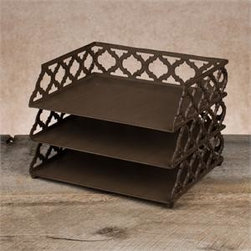 "Gracious Goods GG - Ogee-G 3 Tiered Document Tray - An essential for keeping tasks organized! Three levels of bronzed beauty sit one on top of the other to keep your home and business office organized to perfection.  Beautiful metal scroll work in the new Ogee-G design makes this desk accessory timeless and stunning. Our much loved Ogee-G Collection is a new Gracious Goods line with a contemporary twist. Match with our other Gracious Goods desktop accessories to complete your set.     * Dimensions: W: 13"" D: 10.5"" H: 9"""