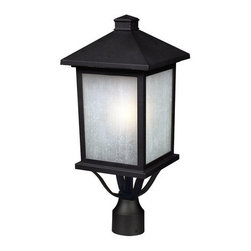 """Z-Lite - Z-Lite 507PHB Craftsman / Mission 1 Light 18.50"""" Height Outdoor Post Light with - Z-Lite 507PHB 1 Light 18.50"""" Height Outdoor Post Light with Glass Square Shade from the Holbrook CollectionThe timeless, mission styling of the Holbrook family displays clean lines to suit both contemporary and traditional decors. The glass panels are available in seedy white paired with a black finished fixture and warm tinted seedy paired with an olde rubbed bronze finished fixture. Also available are glass panels in white swirl paired with black or beige swirl paired with olde rubbed bronze. Alternatively, designed tiffany panels are available in either beige swirl accented with amber or white swirl accented with black. These fixtures are comprise of cast aluminum which withstands natures seasonal elements.Features:"""