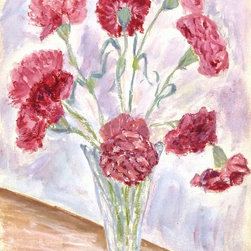 Carnations Gouache, 1978, Painting - Original gouache still life painting of a vase filled with bright carnation blossoms, 1978. Initialed lower right.