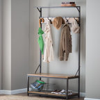 Finley Home - Townsend Hall Tree - HX16939 - Shop for Caddies and Stands from Hayneedle.com! The Townsend Hall Tree adds style and functionality to your home decor. This beautiful rack is made with a metal frame quality wood and a natural finish. It features four handy hooks for hats coats umbrellas and more. A lower cubby makes the perfect spot for shoes storage bins or other items. A bench offers a comfy seat when putting on shoes. A top shelf lets you store even more items. This rack makes a convenient addition to any mudroom hallway or entryway. About Finley HomeFinley Home was created to ensure that your needs wants and desires regarding home furnishings and decor are met with ease. Offering a well-appointed mix of both current and classic designs all with functional style at exceptionally affordable prices Finley Home's unique pieces and collections are ideal for keeping pace with today's ever-evolving lifestyles. Simple silhouettes understated elegance and versatility define the Finley Home brand and make it one you'll return to for years to come.