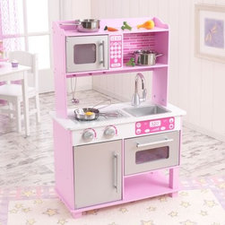 Kidkraft Pink Toddler Play Kitchen with Metal Accessory Set - This adorable pink kitchen gives toddlers everything they need to cook up a delicious feast for the whole family. Its a sturdy pink play kitchen with the metal accessories and pretend food all together in one package. That's enough to make you stand up and shout bon appetit. Recommended ages 3+ years. Dimensions: 25.25L x 12W x 36.75H inches. Features include: Wood construction with pink finish 11-piece kitchen food and metal accessory set Refrigerator microwave and oven doors all open and close Oven knobs turn and click faucet handle turns Storage shelf on top of ktichen is perfect for pretend food and other toy kitchen accessories Convenient storage space above and below the sink Removable sink for quick and easy cleanup Large enough for multiple children to play together Smart sturdy construction Packaged with detailed step-by-step assembly instructions Assembled dimensions: 25.25L x 12W x 36.75H inches Accessories Set includes: Pan Pot Lid Frying Pan Spatula Ladel Spoon Carrot 2 Vegatables Egg.