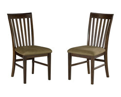 Atlantic Furniture - Mission Curved Back Dining Chair - Set of 2 ( - Finish: Antique Walnut in Oatmeal CushionSet of 2. Mission Collection. Classic Mission design. Eco-friendly hardwood. Microfiber foam cushions. 2 in. Foam seat cushions are made of stain resistant microfiber fabric. Mortise and tenon joinery. Curved chair backs for lumbar support for added comfort. Pictured in Antique Walnut with Cappuccino seat cushion. 1-Year warranty. 300 lb weight limit. Seat height: 19.25 in.. 24.75 in. W x 19.25 in. D x 38.125 in. HAtlantic Furniture's Mission Dining and Pub Chairs will be a wonderful addition to any household. These chairs are comfortable, durable and won't disappoint.
