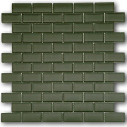 "GlassTileStore - Loft Army 1 x 2 Glass Tiles - Loft Army 1 x 2 Glass Tile             Add a burst of color to any room with this beautiful glass tile. This colorful design will give your kitchen, bathroom or any decorated room a fresh and bold look.          Chip Size: 1x2   Color: Dark Olive Green   Material: Glass   Finish: Polished    Sold by the Sheet - each sheet measures 12"" x 12"" (1 sq. ft.)   Thickness: 6mm            - Glass Tile -"
