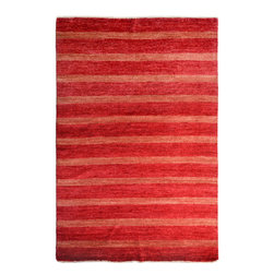"""ALRUG - Handmade Red/Rust Oriental Gabbeh Rug 5' 7"""" x 8' 6"""" (ft) - This Pakistani Gabbeh design rug is hand-knotted with Wool on Cotton."""