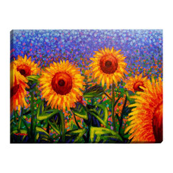"""DiaNoche Designs - Sunflowers Illuminated Wall Art - Illuminated Wall Art by Dianoche Designs, brings continuous art 24 hours a day. Art during the day... flip a switch, and at night, it is a light! Art by John Nolan - Sunflowers. Dianoche Designs illuminates artwork from behind using LED's designed to last 50,000 hours. The """"Art Today, Light Tonight"""" concept gives each customer an opportunity to enjoy their artwork 24 hours a day! Dianoche Designs uses images from artists all over world and literally """"Brings to Light"""" their astonishing works. Your power cord can be hidden by a simple cable organizer or cable raceway, that commonly hides speaker wire on a wall. This can be purchased at any home improvement store and you can also paint over it."""