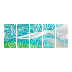 Pure Art - Ripples Beneath the Sea Metal Wall Art Set of 5 - Silver strands sleekly flow among the bubble shaped ringlets in a sea scape of abstract design. This five panel metal wall hanging group takes the eye to levels below the sea where the imagination can flow. Panels are quickly and easily secured to your walls using the strong welded brackets on back of each one. Clear coat finish has been applied for added protection of each work of artMade with top grade aluminum material and handcrafted with the use of special colors, it is a very appealing piece that sticks out with its genuine glow. Easy to hang and clean.