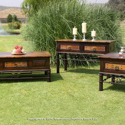 Artisan Home Furniture - Artisan Home Valencia 3 Piece Coffee Table Set w/ Copper Top & Iron Base - The firing gives the copper its many variations and makes each top a work of art. No two tops will match, but are finished to blend together. Lacquer finish gives protection and depth to the wood. Storage tables are an extra value. Completes the unique old world look. - IFD300CKTL-3-SET.  Product features: Real copper tops, hand hammered and fired using a hand applied old world finishing technique; Texturized iron base, hand forged and hand painted; Distrassed pine finished with a multi step lacquer process; Storage tables feature two drawers on the cocktail table, one on the end table, and two on the sofa table; All drawers have full extension glides; Nail head trim around top and on drawer front frame. Product includes: Cocktail Table (1); Console Table (1); End Table (1). 3 Piece Coffee Table Set w/ Copper Top & Iron Base belongs to Valencia Collection by Artisan Home.