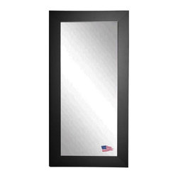 Rayne Mirrors - American Made Black Satin Wide Full Length Mirror - Add a sophisticated and classic touch to any room with this grand black satin tall mirror.  Rayne's American Made standard of quality includes; metal reinforced frame corner  support, both vertical and horizontal hanging hardware installed and a manufacturers warranty.