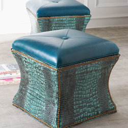"""Massoud - Massoud """"Lagoon"""" Storage Cube - Crocodile embossing, nailhead trim, button-tufted seating, and a slight hourglass shape give this handcrafted storage cube a modern, edgy vibe. Furniture-hardwood frame wrapped in leather. 21""""Sq. x 21""""T. Made in the USA."""