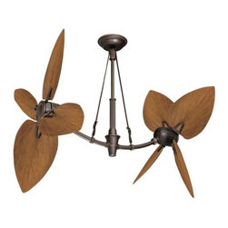 """Fifthroom - 52"""" Oil-Rubbed Bronze Coix Outdoor Ceiling Fan w/ Pecan Leaf Blades - Is the hot and humid weather keeping you from enjoying your outdoor retreat? Bring a little taste of the tropics to any outdoor area with our Oil-Rubbed Bronze Coix Outdoor Ceiling Fan. It is just the thing you need to create your own breeze while at the same time, adding a touch of character. This fan is great for under porches, in gazebos or pavilions. This fan is damp location approved; however, it requires a cover to shield it from any direct exposure to precipitation."""