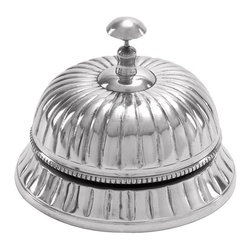 """Benzara - Aluminum Table Bell A Great Table Decor - Aluminum Table Bell features authentic aluminum metal, polished and refined, to ensure quality. Remains like new even after years. Great table decor for home and offices.; Material: Aluminum; Color: Silver; Exhibits special liking for nautical decoration; A class apart gift; Involving decoration that attracts everyone; Dimensions: 6""""W,5""""H"""